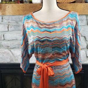 Trina Turk Chevron Cold Shoulder Knit Dress XS/S
